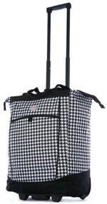 Rolling Shopper Tote Black Houndstooth