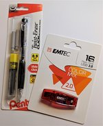 Bundle: Emtec 16gb Flash Drive, Pentel Value Pencil Set