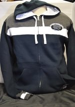 Sweatshirt Zip Front Hoodie Stripe Fleece Navy SM