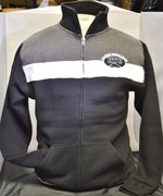 Sweatshirt Zip Front Stripe Fleece Track SM