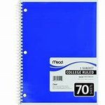 Notebook 1 sub 70 Sheet College Rule Assorted Cover Colors